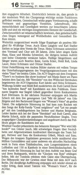 19.03.2005 Bericht Lußheimer Frühlingsfeier 2