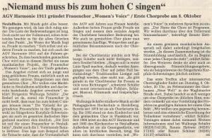 08.10.2002 Bericht Gründung Frauenchor