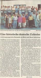 19.06.2003 Bericht Ausflug Mosel