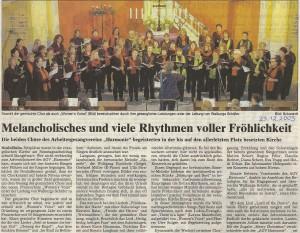 21.12.2003 Bericht Weihnachtskonzert beider AGV Chöre
